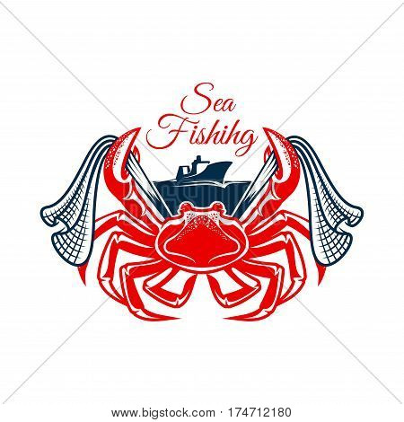 Crab sea fishing symbol. Atlantic crab marine animal with net in claws and trawler fishing boat. Fishing sport club, fishery industry themes design