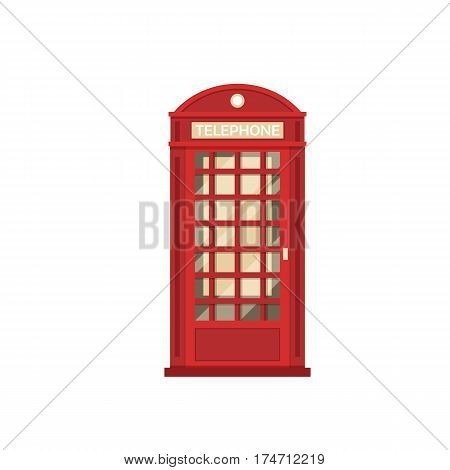 Red phone box vector illustration. London telephone booth isolated on white background.