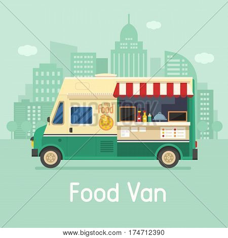 Street food truck on city background. Retro pizza van on modern city landscape. Mobile kitchen van vector illustration in flat design. Vintage cartoon minivan with hot food.