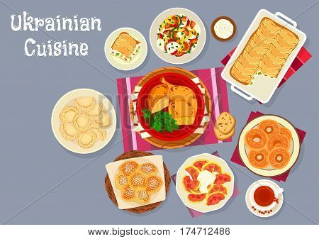 Ukrainian cuisine traditional dumplings icon served with cherry and cottage cheese, pike fish stewed with vegetables, stuffed chicken with noodles, cheesecake with pear fruit, pumpkin bagel, donut