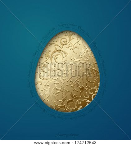 Easter greeting card with caper cut egg golden floral pattern. Turquoise background. Happy Easter text around.