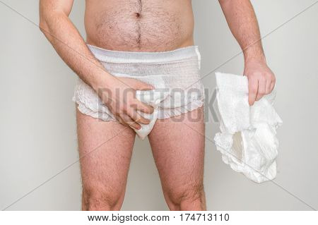 Man Wearing Incontinence Diaper
