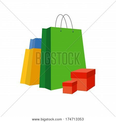 Set of simple bright paper shopping bags and present boxes near. Isolated on white background. Vector clip art.