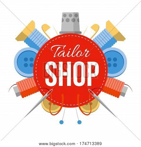 Tailor Shop Sign With Sewing Stuff