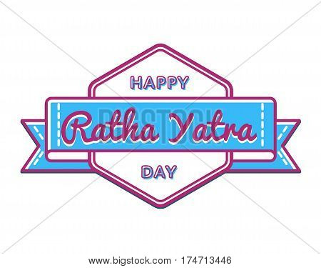 Happy Ratha Yatra day emblem isolated illustration on white background. 26 june indian religious holiday event label, greeting card decoration graphic element