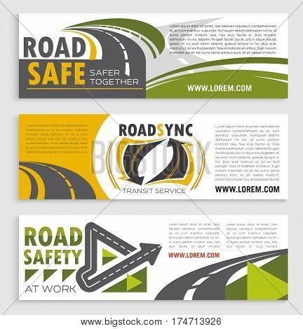 Road safety and transit service banner template set. Asphalt road and speedy highway symbols with text layout for transportation company flyer, road travel and tourism themes design