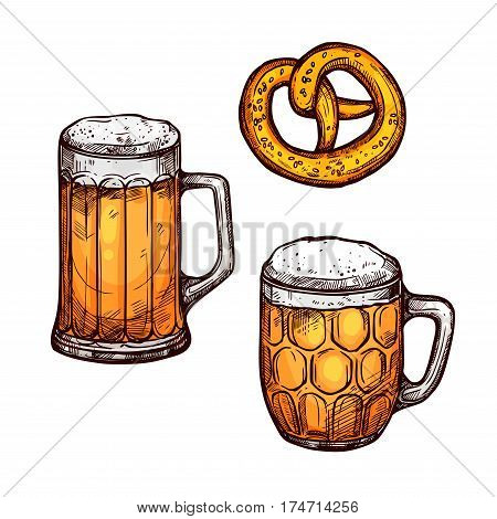 Beer and pretzel isolated sketch. Beer glass mug and tankard with bavarian pretzel. Oktoberfest poster, bar or pub symbol, brewery themes design