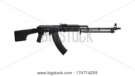 Weapon - A close up black Assault rifle on a white background. It is isolated the worker of paths is present.