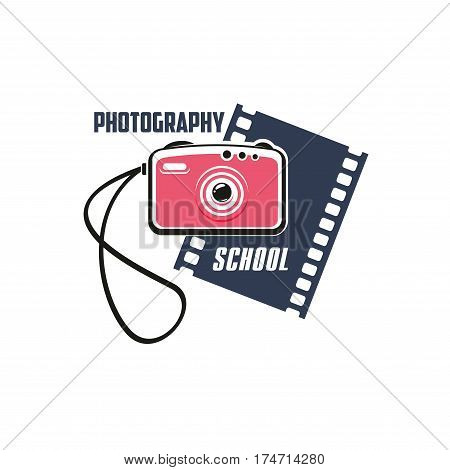 Photography school isolated sign. Pink photo camera with filmstrip on background for photo studio, photography lesson and class symbol, art education themes design