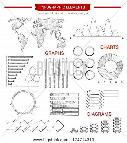 Infographic elements, sketch design. Hand drawn world map, bar graph, pie chart, arrow step diagram and stacked chart with pointers and text layout. Business presentation, financial report design