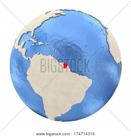 French Guiana In Red On Full Globe Isolated On White