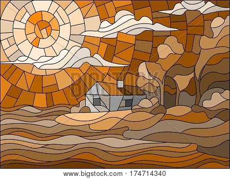 The image in the stained glass style landscape with a lonely house on a background of sky and seabrown tone Sepia