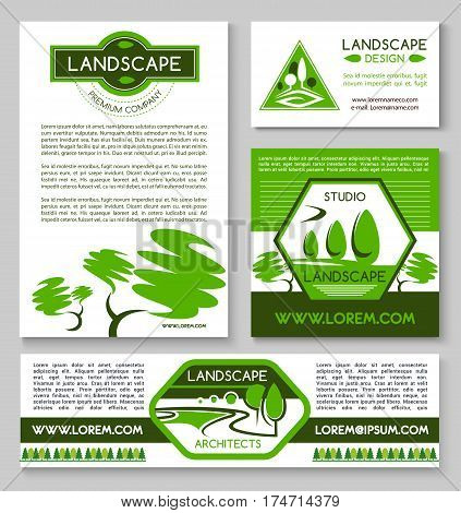 Landscape design business banner template set. Landscape architect business card, landscaping and gardening design studio flyer with garden and park landscape composition of green trees and plants