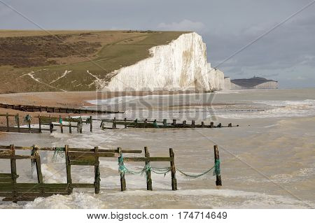 The white steep chalk cliffs in the Seven Sisters Country Park in East Sussex. Tree constructions in the sea in the foreground