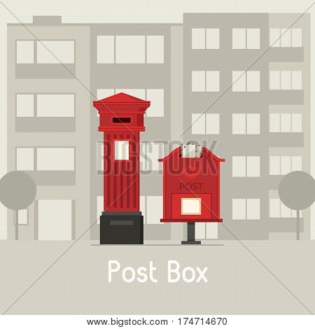 Vintage post boxes on modern city background. Red mail boxes on town landscape. Public street mailboxes standing vertical.