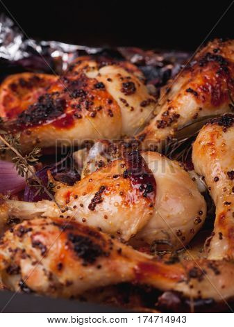 Roasted Chicken Drumsticks. Homemade Roasted Chicken Legs With Spices
