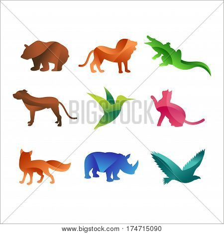 Wild animals jungle pets logo silhouette of geometric polygon abstract character and nature art graphic creative zoo triangle vector illustration. Artwork colorful shape sign decorative element.
