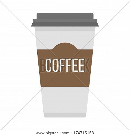 Take-out coffee in thermo cup isolated on white. Disposable sign icon with logo and fast food portable beverage vending. Espresso cappuccino latte container vector.