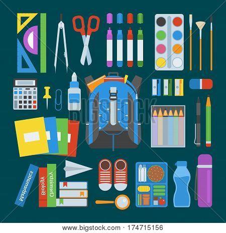 School bag. Backpack full of school supplies. Children stationary zipper educational sack. Handle bag education rucksack notebook baggage sharpener eraser ruler scissors.
