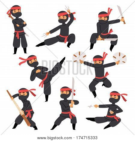 Different poses of ninja fighter in black cloth character warrior sword martial weapon japanese man and karate cartoon person action mask kick vector illustration. Traditional combat asia male.