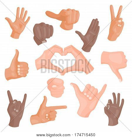 Hands showing different gestures isolated on white human arm hold collection communication and direction design fist touch pointing vector illusstration. Body part diversity symbol.