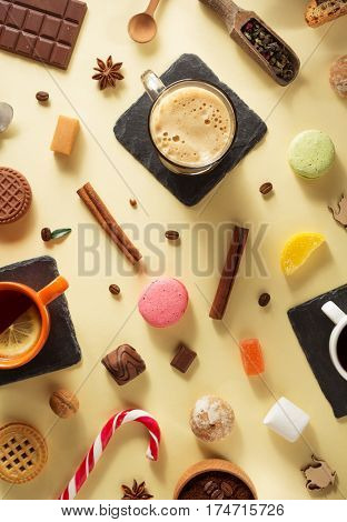 cup of coffee at paper surface background