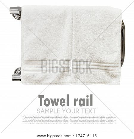 clean towels drying on the heated towel rail isolated on white background