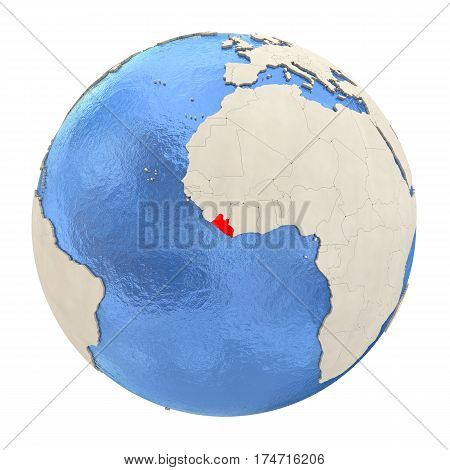 Liberia In Red On Full Globe Isolated On White