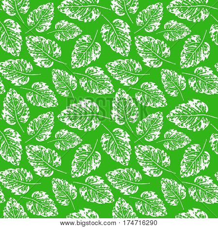 Seamless handcrafted pattern with leaves. White leaves imprints on green background. Vector seamless pattern