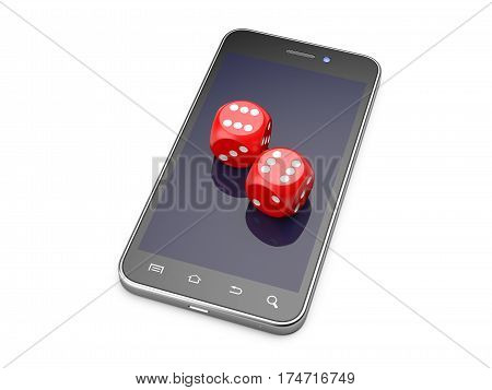 Smartphone with game dice. Online play concept. 3d illustration isolated on a white background.