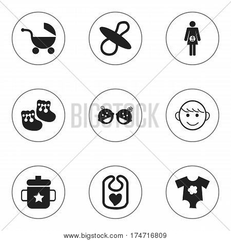 Set Of 9 Editable Kid Icons. Includes Symbols Such As Merry Children, Shoes For Babies, Pinafore And More. Can Be Used For Web, Mobile, UI And Infographic Design.