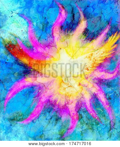 Dove on abstract background in light flame. Painting and graphic design