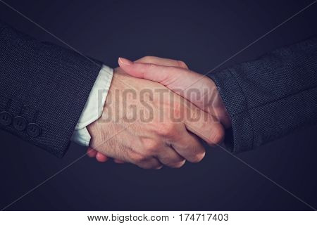 Joint venture corporate people handshaking to form a temporary partnership by shared ownership over business undertaking