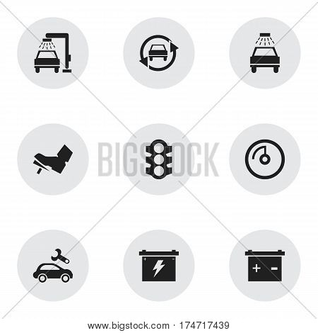 Set Of 9 Editable Car Icons. Includes Symbols Such As Speed Display, Tuning Auto, Stoplight And More. Can Be Used For Web, Mobile, UI And Infographic Design.