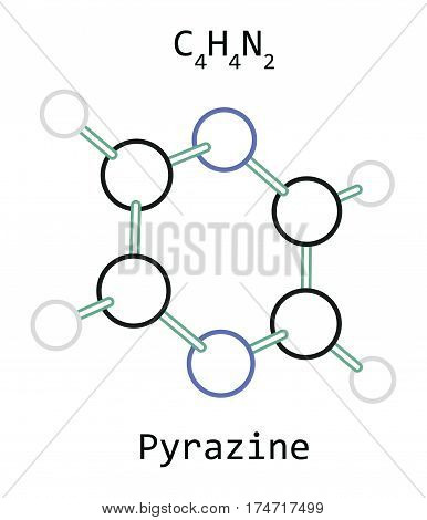 molecule C4H4N2 Pyrazine isolated on white in vector