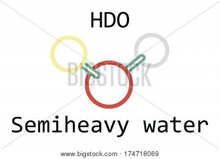molecule HDO Semiheavy water isolated on white