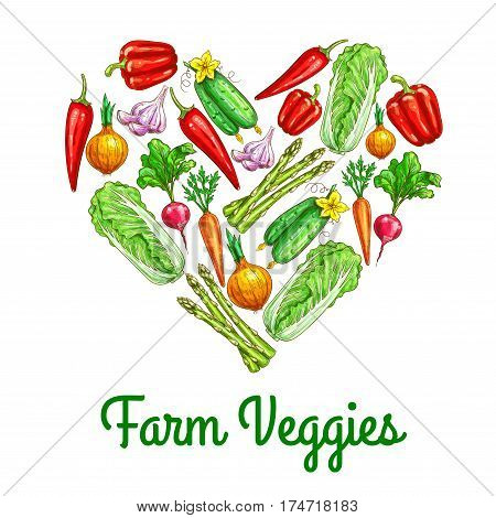 Heart of vegetables poster. Carrot, chilli and bell pepper, onion, chinese cabbage, radish, cucumber, garlic and asparagus sketches. Fresh organic farm veggies for healthy food, agriculture design