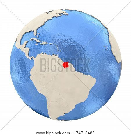 Suriname In Red On Full Globe Isolated On White