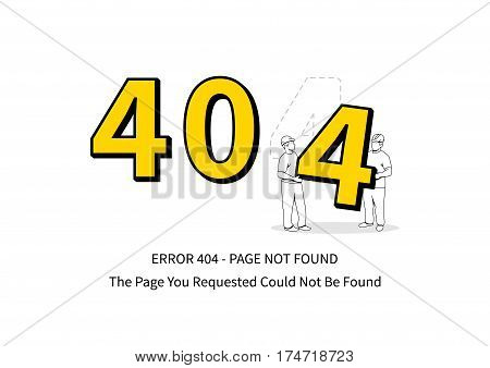 Error 404 page with workers vector illustration on white background. Broken web page graphic design. Two loaders carry 4 number. Error 404 page not found creative template.