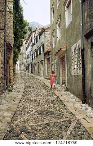 Old Town Risan winding Gabela street, Montenegro