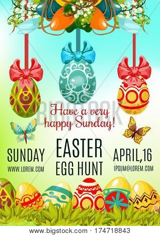 Easter Egg Hunt and Holy Sunday poster template. Painted Easter egg in green grass, floral wreath of lily and tulip flowers with ribbon bow and butterfly. Easter celebration invitation, flyer design