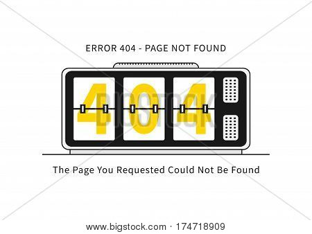 Error 404 page with alarm clock vector illustration on white background. Broken web page graphic design. Alarm clock show 404 numbers. Error 404 page not found creative template.