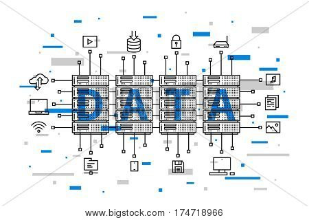 Data center network technology vector illustration. Internet server equipment line art creative concept. Hosting cloud datacenter hardware graphic design. Network database infrastructure system.
