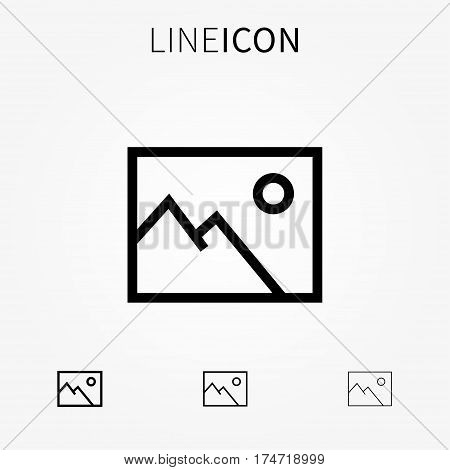 Image vector icon. Line art picture pictogram. Photography outline symbol. Photo frame linear sign. Gallery interface icon.