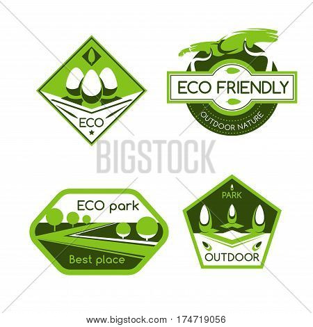 Eco park label set. Green eco city park symbol of ecological recreation zones with trees, grasslands, urban forest and garden plants. Ecology protection, environment friendly lifestyle themes design