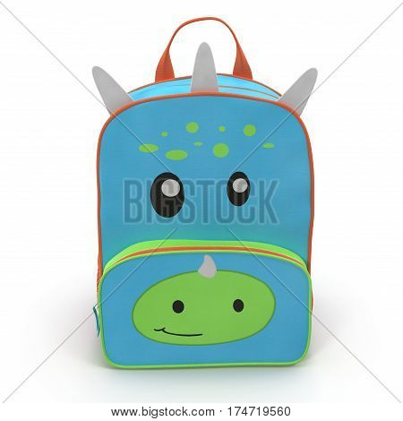 Dino Kids Back Pack on a white background. Front view. 3D illustration