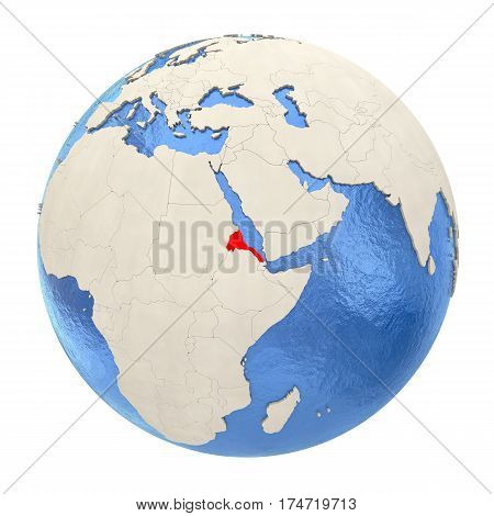 Eritrea In Red On Full Globe Isolated On White