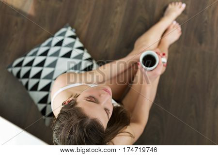 Woman Drinking Morning Coffee