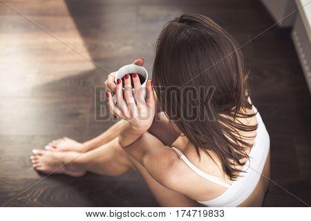 Beautiful Woman Having Coffee In The Morning