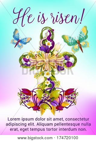 Easter flower cross greeting card. Easter egg and flower of tulip, narcissus, crocus in a shape of christian religion crucifix, adorned by ribbon bow and butterflies. Easter spring holidays design